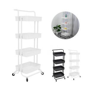 4 Tier Mobile Kitchen Trolley Cart Handle Slim Rolling Storage Rack W/ Wheels