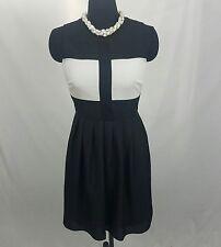 J. Taylor Black White Pleated Sheath Dress Size 6