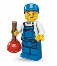 Lego collectable series 9 minifig city plumber with toilet bathroom plunger tool