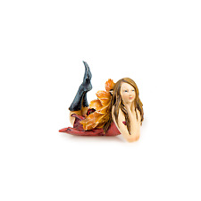 Flower Wing Sitting Fairy with Orange Wings - Miniature Fairy Garden Dollhouse