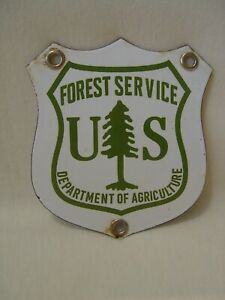 Vintage US Forest Service Department Of Agriculture Small Porcelain Shield Sign