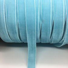 "5yds 5/8 ""16mm Vintage Sky Blue Velvet Ribbon Headband Clips Bow Wedding Craft"