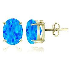 Gold Ton über Sterlingsilber Künstlicher Blauer Opal 8x6mm Oval Ohrstecker