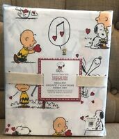 Pottery Barn Kids Snoopy Valentines Queen Sheet Set New Organic Peanuts NWT