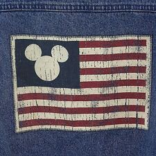 Denim Disney Blue Jean Jacket Large Faded American Flag Mickey Mouse Face