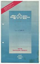 Indian Overseas Bank India Specimen Traveller's Cheques 500R/1000R (4) in folder
