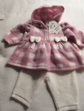 NWT 3/6m Girl Two-Piece Miniwear Hooded Outfit 100% Polyester  Checks Bows