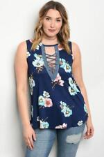 NEW..Stylish Plus Size Navy Floral Sleeveless Top with Lace Up Front..SZ18/2xl