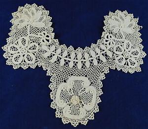 Victorian Antique Handmade White Irish Crochet Lace Collar Dress Trim Yoke Vtg