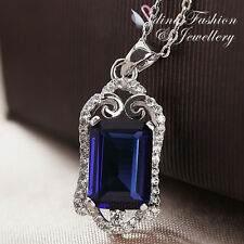 18K White Gold Plated Made With Swarovski Element Radiant Cut Vintage Necklace
