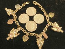 bling 14k gold plated religious angel heart crystal charm chain bracelet hip hop