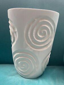 """White Whirl Vase 10.5"""" Tall Vase"""