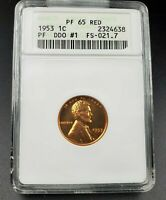 1953 P Lincoln Wheat Cent Penny ANACS Variety GEM Proof PF65 DDO FS-021.7 FS-101