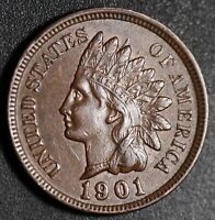 1901 INDIAN HEAD CENT -With LIBERTY & Near 4 DIAMONDS - AU UNC