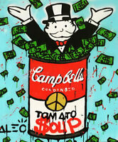 Alec Monopoly print on Canvas Graffiti art decor Campbells Tomato Soup 28x36""