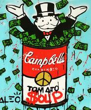 "Alec Monopoly print on Canvas Graffiti art decor Campbells Tomato Soup 28x36"""