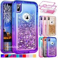 For iPhone X XR XS Max Hybrid Liquid Glitter Shockproof Protective Case Cover