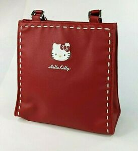 Vintage 2005 Sanrio Hello Kitty Handbag Purse Red White Stitching Double Handle