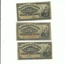 🇨🇦 Canada 3 x 1/4 Dollar 1900 Circulated notes! -FREE USA SHIPPING