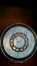 Double Blue Swirl Stained Glass Clock -