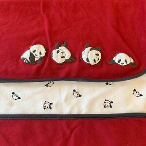 Vintage Gymboree SNOW PANDA BEAR Red Baby Blanket