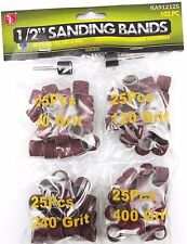"""1/2"""" Sanding Bands Drums Sleeves 102PC Set 60 120 240 And 400 Grits Fit DremeI"""