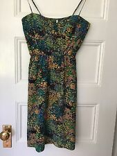 Twelfth Street By Cynthia Vincent Floral Silk Dress Elastic Waist Size 4 EUC