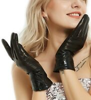 women elegant mid long top real Italy leather wool lined gloves black