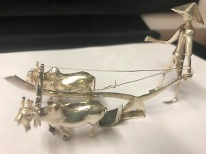 STERLING SILVER HAND MADE MAN AND PLOW FIGURE W/OXEN - 41.5 GTW - 5 INCHES mini