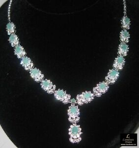 22.8 ct EMERALD GEMSTONE SILVER NECKLACE ( was $689.95 )