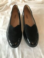 Gabor Black Patent & Suede Loafers Size 8 G BRAND NEW