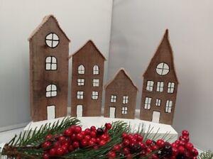 Set Of 4 Wooden Houses Christmas Nordic Gift, Handmade Scandinavian Decoration