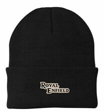 Royal Enfield classic retro beanie, leather patch hat motocross