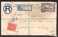 SIERRA LEONE US 1950 UPRATED REGISTRATION FEE LETTER FREETOWN TO CALIFORNIA