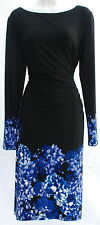 Ralph Lauren printed floral elegant long sleeves dress sz 2P black and blue