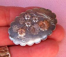 Vintage Antique Victorian Sterling Silver Rose Gold Mourning Hair Locket Brooch