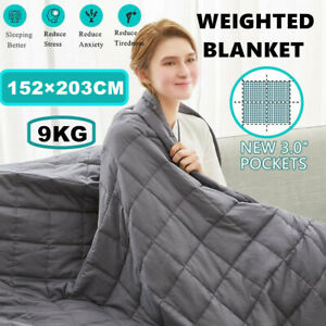 Premium Cotton Beddding Weighted Blanket Adult 9KG Gravity Deep Health Sleep