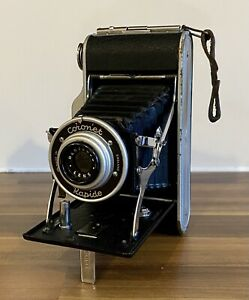 Coronet Rapide Vintage Folding Bellows Camera With Meniscus Lens Good Condition