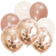 Rose Gold & White Stunning Confetti Balloon Bouquet (11PCE)-Party Decorations