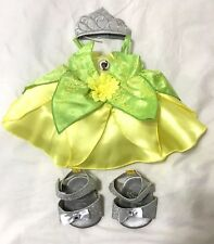 Build a Bear Tiana Disney Princess and The Frog Crown Shoes Dress Outfit RARE