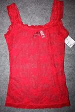 NEW Fredericks of Hollywood Red All Lace Cami Tank Top Small Sheer