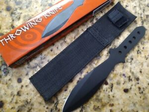 """New 8.5""""  High Quality Throwing Knife Sharp Black Stainless Blade 5 Hole Handle"""
