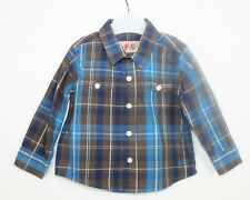 French Connection Baby Boys Blue Brown Checked Long Sleeved Shirt age 6-12 month