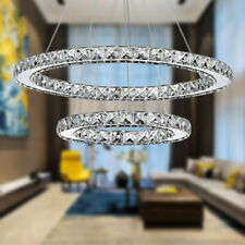 Modern Crystal Chandeliers LED Ring Light Adjustable Pendant Ceiling Lamp 110V
