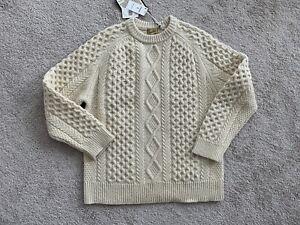 LEVIS VINTAGE CLOTHING LVC ARAN SWEATER CREME BRULEE SIZE LARGE NWT