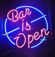 """Bar Is Open Neon Lamp Sign 17""""x14"""" Bar Light Garage Cave Glass Decor Artwork"""