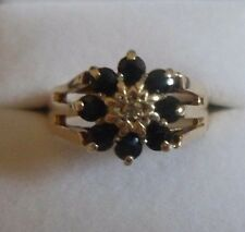 Blue SAPPHIRE and diamond CLUSTER ring 9ct yellow gold 1978 Clasiic style N