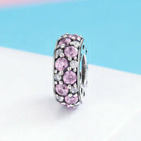 Authentic 925 Sterling Silver CZ Pink Round Charm Bead For Necklace/Bracelet