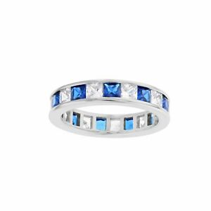 Sterling Silver Simulated Square Sapphire CZ & Clear CZ Eternity Band Ring