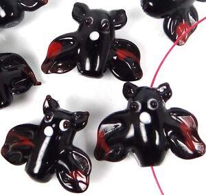 4 Lampwork Handmade Glass Flying Bat Halloween Beads
